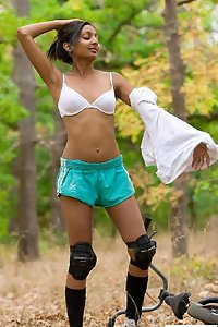 Petite Indian Girl Shazia Stripping Nude In Jungle