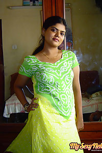 Indian Wife Neha in green and yellow Indian shalwar suit