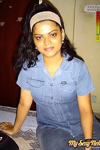 Indian Wife Neha in bedroom in bluw tight jean teasing hubby