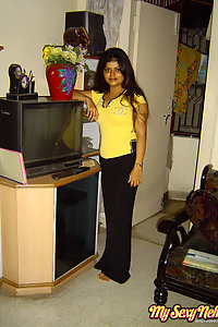 Indian Wife Neha in her favorite yellow western outfits