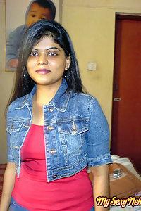 Indian Wife Neha in her bedroom showing her juicy boobs