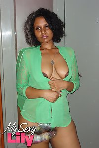 Juicy Indian babe Horny lily in see thru green top getting naked