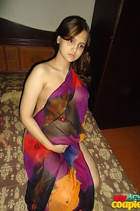 Indian Wife Sonia Fishnet Outfit Showing Off