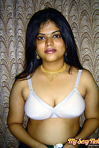 Indian Wife Neha in white lingerie exposing herself in bedroom