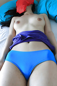 skinny Indian girl laying naked in bed with her bf