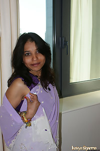 Kavya in favoruite sari getting ready for party
