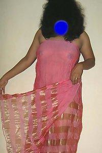 Indian Rambha Bhabhi In Pink Saree Strip Naked