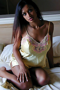 Hot Indian gf in yellow nighty getting naked for sex