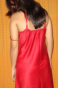 Sexy Indian Babe Red Nighty Stripped Naked