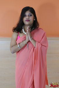 Rupali bhabhi in hot pink saree with pink bra and panty