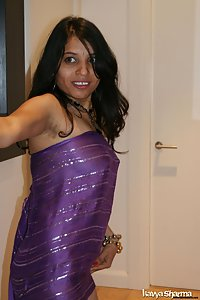 Indian Babe Kavya in her blue jali dar shawl unwrapping herself
