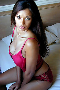 Hot Indian girl in red lingerie exposing herself off