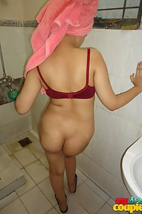 Indian Wife Sonia Taking Shower Hubby Taking Pictures
